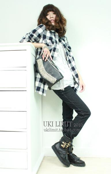 женская рубашка UKI LIMIT Городской стиль Длинный рукав В клетку