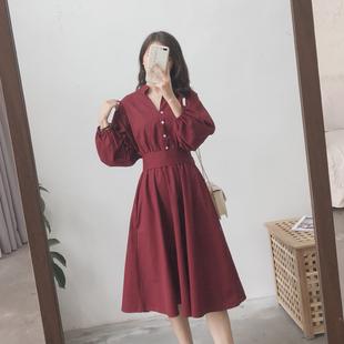 赫本风法式复古气质长裙桔梗初恋山本女春裙子收腰红色衬衫连衣裙