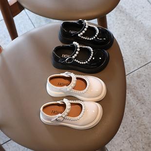 女童皮鞋春秋2021珍珠单鞋英伦风软底小女孩玛丽珍儿童公主鞋