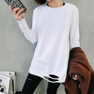 2019春秋装白色长袖T恤破洞加绒打底衫女宽松内搭中长款上衣