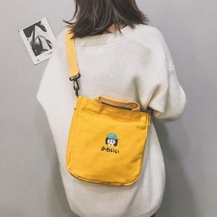 原宿日系软妹女布包2018单肩帆布小挎包斜挎手提学生上课布袋