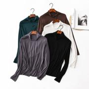 莫代尔高领打底衫大码女装秋冬装堆堆领秋衣长袖女士T恤