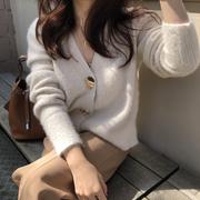 秋冬水貂绒外套女开衫短款显瘦百搭慵懒风加厚毛衣V领针织衫