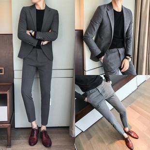 春季男士潮流西服两件套发型师刺绣西装套装礼服