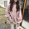 毛线拼接高领假两件加绒加厚套头卫衣女秋冬学生宽松大码外套