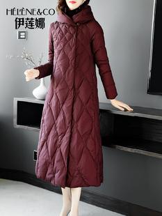 欧美风连帽羽绒服女装2018冬季中长过膝白鸭绒时尚外套潮