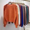 秋冬季水貂绒套头毛衣女冬短款貂毛宽松外套灯笼袖针织衫
