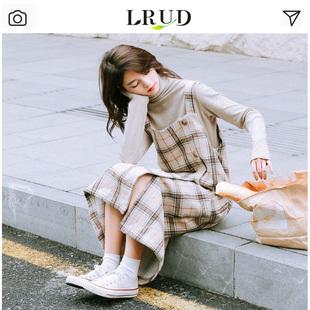 LRUD套装女2018秋冬高领长袖打底针织衫格子背带连衣裙两件套