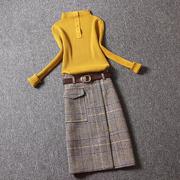 女装套装2018潮套装秋冬时尚长袖毛衣针织衫格子中长裙两件套