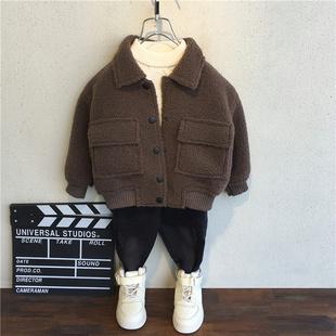 男童秋冬装外套2018加厚加绒童装儿童宝宝冬季羊羔绒毛潮