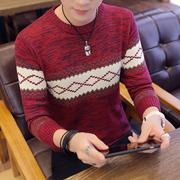 秋冬季毛衣男潮流条纹圆领加厚线衣时尚长袖针织衫帅气bf