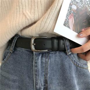 男女通用皮带百搭简约黑色细腰带复古针扣牛仔裤带学生潮