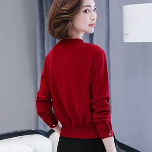 2018秋季长袖t恤女短款小衫宽松遮肚子雪纺衫女装上衣打底衫