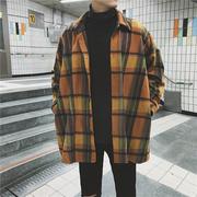 原宿风格子男士春季潮流外套中长款风衣款男装夹克情侣装