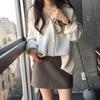 韩国ins设计师款宽松纯色针织衫外套马海毛加厚毛衣女8059
