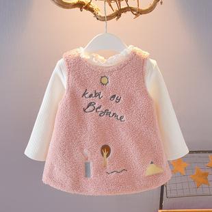 0-1-2-3岁女宝宝秋冬装女童加厚套装背心裙两件套婴幼儿衣服