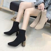 鞋子女2019女鞋冬马丁靴女方头瘦瘦靴针织弹力袜子靴高跟短靴