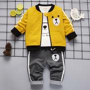 男婴0男童1男宝宝2周岁秋季3春秋款4岁半婴儿童装三件套装潮5