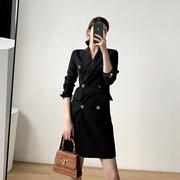 黑色连衣裙女2020秋季气质复古长袖收腰显瘦中长款修身西装裙