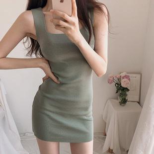 韩国秋冬打底针织吊带低胸连衣裙紧身包臀显瘦性感短裙夜店女