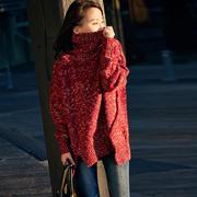米可可M3255A通勤宽松花线中长款高领套头毛衣女2017