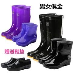 靴子雨靴简约迷彩煤矿下雨天橡胶低腰雨鞋轻巧中大童纯色高帮长筒