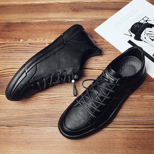保罗男鞋2018冬季黑色鞋男懒人皮鞋百搭潮流男士加绒板鞋