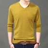 秋季薄款羊毛衫 男V领纯色打底针织衫毛衣 男装长袖T恤男