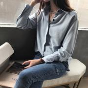 秋装2018港味chic纯色衬衫女宽松显瘦气质长袖衬衣打底上衣潮
