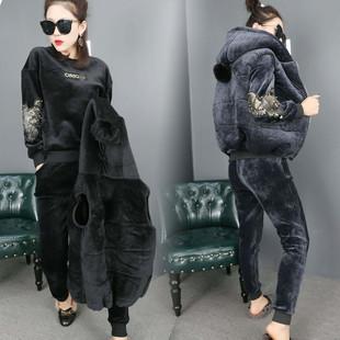 秋冬双面绒运动套装女加绒加厚棉马甲金丝绒卫衣三件套装