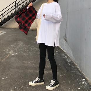 秋季2018学院风百搭宽松白色长袖打底衫T恤女装学生上衣