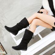 欧洲站潮流平跟女靴布面女长靴子女鞋舒适大脚大码女靴