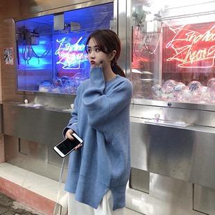 秋冬女装宽松慵懒风糖果色长袖毛衣女圆领套头针织衫上衣外套
