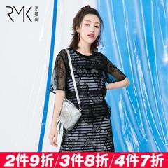 蕾丝裙套装诺曼琦2018夏季女装高腰条纹打底连衣裙两件套