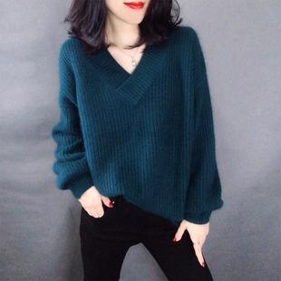 大码毛衣女胖妹妹2018秋季200斤冬装宽松长袖打底针织衫