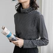 黑白条纹t恤女长袖上衣高领打底衫针织内搭秋季2018
