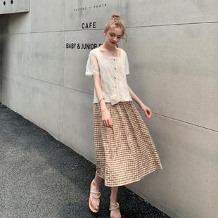 夏大大法国女式减龄套装夏季胖mm大码2019宽松雪纺衫短裤半裙