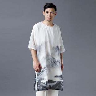 夏古风仙气雪纺禅服男五分袖t恤男宽松大码短袖中国风薄款长衫男