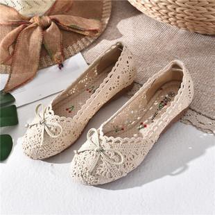 老北京布鞋女软底豆豆鞋夏季平底单鞋女黑色上班工作鞋防滑孕妇鞋