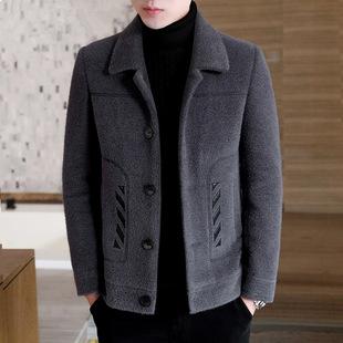 毛呢外套男士秋冬季短款呢子大衣男韩版潮流加厚风衣男装貂绒夹克