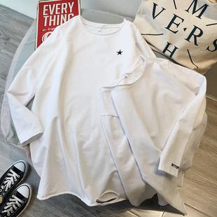 简约宽松版刺绣纯白色磨毛加厚加绒中长款T恤女 大码保暖打底衫