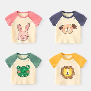 宝宝短袖T恤夏季女新生儿半袖夏薄款上衣婴儿夏装男小童纯棉衣服