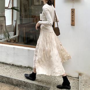 杏色百褶裙女中长款2021春款A字显瘦大摆长裙韩版高腰褶皱半身裙