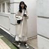时尚套装秋冬女装长款针织连衣裙+褶皱雪纺半身裙两件套