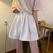 白色短裤女2021松紧高腰显瘦外穿百搭阔腿裤学生休闲裤子夏季