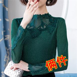 加绒加厚网纱打底衫女长袖半高领2018秋冬季蕾丝时尚洋气小衫