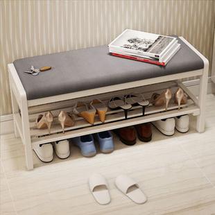 宜家 玄关简约换鞋凳试穿鞋凳鞋柜 实木鞋架成人门厅布艺储物收纳
