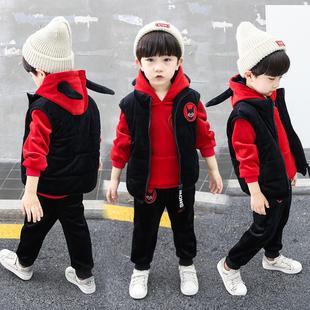 童装男童秋冬装套装2018儿童洋气宝宝金丝绒小童三件套冬季潮