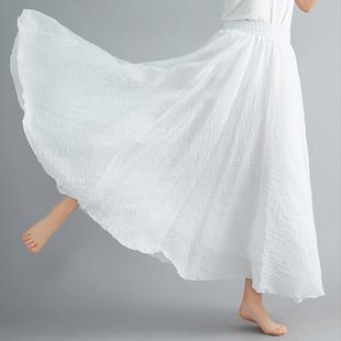 春夏复古森女文艺双层大摆纯色显瘦荷叶边棉麻半身裙女长裙子