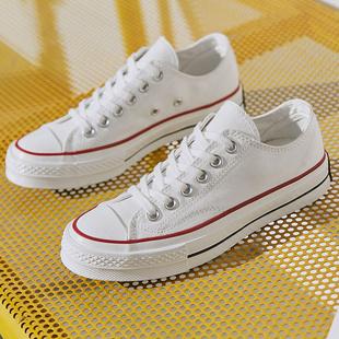 人本小白鞋女韩版低帮百搭学生平底透气板鞋白色经典帆布鞋女潮鞋